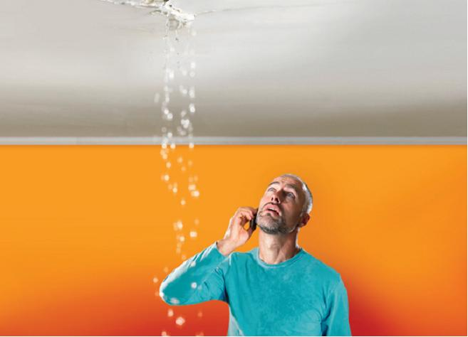 water damage leaking through the ceiling from condensate line